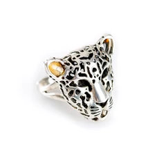 MAGNIFICENT LEOPARD HEAD SMALL ADJUSTABLE RING IN SILVER AND AMBER