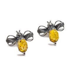 BUMBLE BEE STUD EARRINGS IN SILVER AND AMBER