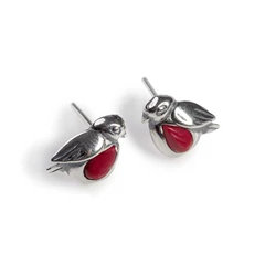 MINIATURE ROBIN STUD EARRINGS IN SILVER AND CORAL
