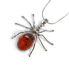 HANDMADE SPIDER NECKLACE IN SILVER AND AMBER