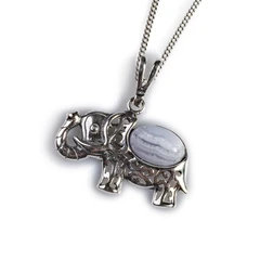INDIAN ELEPHANT NECKLACE IN SILVER AND AGATE BLUE LACE