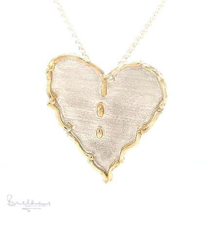 Leucothea 9ct Gold and Sterling Silver Statement Heart Pendant and Chain