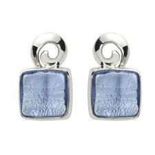 Gabriella Nanni Sterling Silver Square Swirl Earring Celeste