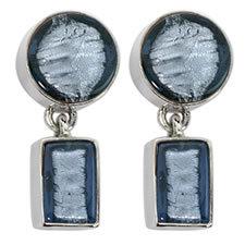Gabriella Nanni Sterling Silver Round Rectangular Earring Celeste