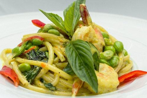 Spaghetti Chicken Green Curry