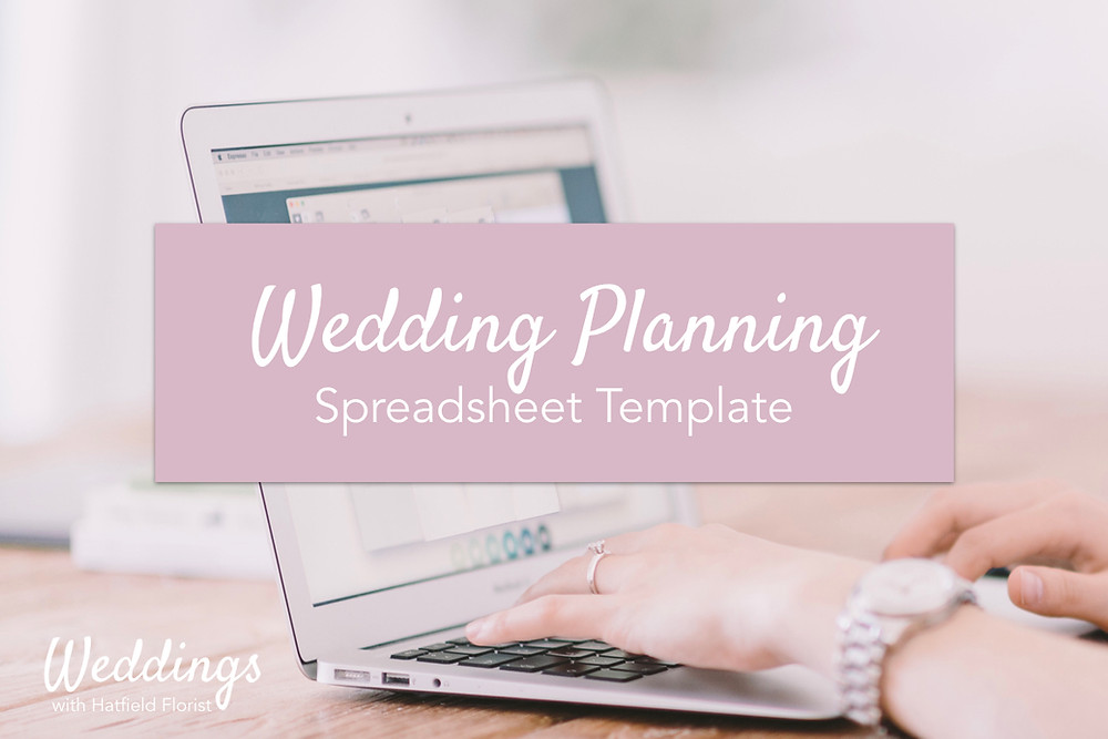 """A photo of a woman typing with a graphic overlay stating: """"Wedding Planning Spreadsheet Template."""""""