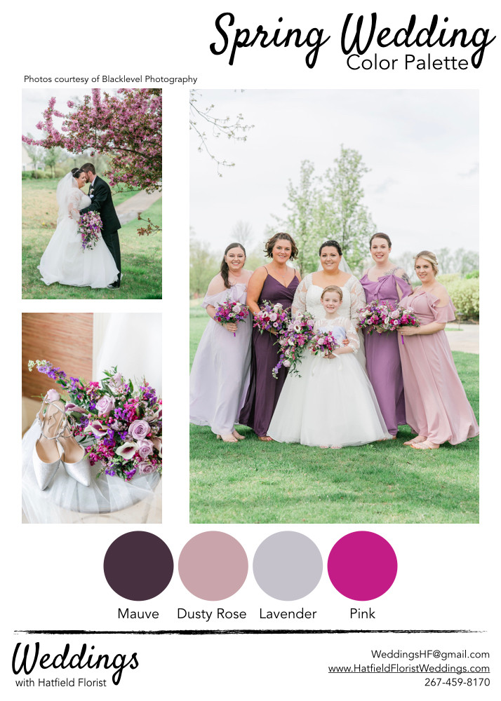 A collection of spring weddings with a designated color palette, including pink & purple tones.