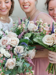Bride and bridesmaids with bouquets - Stacey Lynn Photography