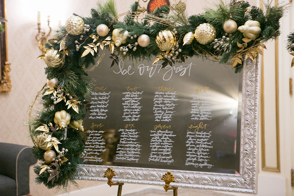 winter wedding seating chart flowers