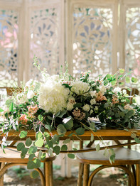 Flower piece for sweetheart table - Historic Stonebrook Farm - Between Pines Photography