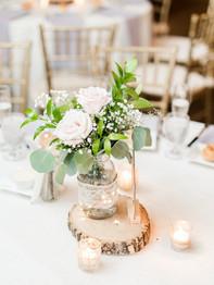 Wedding Reception Centerpiece - Barn on Bridge - Andrea Krout Photography