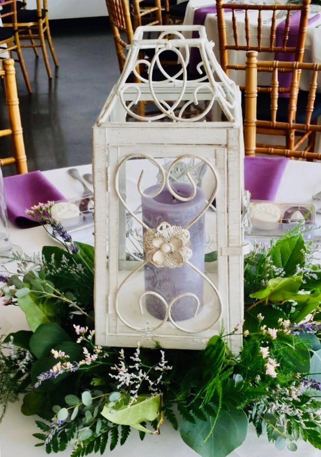 spring wedding - white lantern, purple decorations