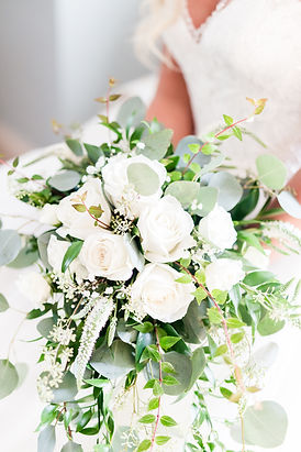 Summer wedding bouquet with big white roses
