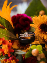 Close up of rings on bouquet - Joseph Ambler Inn - Megan Leigh Photography