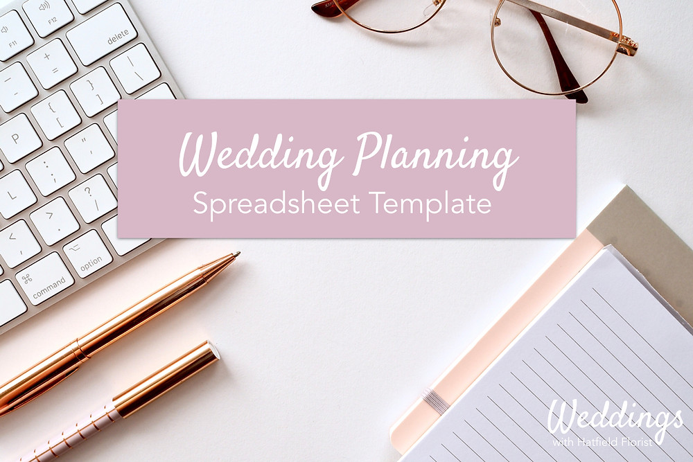 """A stock image of supplies on a desk with an overlay graphic stating: """"Wedding Planning Spreadsheet Template."""""""