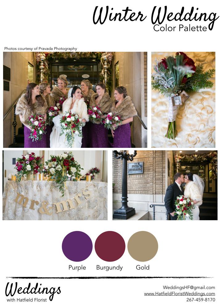 Hatfield Florist wedding winter color pa