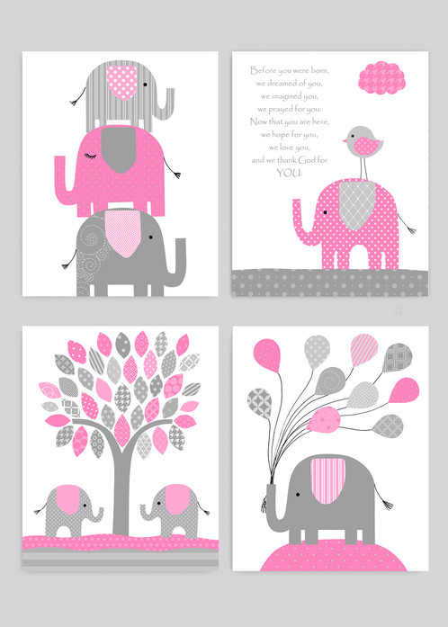 Baby Girl Elephant Nursery Wall Decor, Pink And Grey