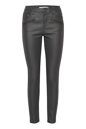 BYoung Lola Coated Jeans Asphalt. Zip Detail