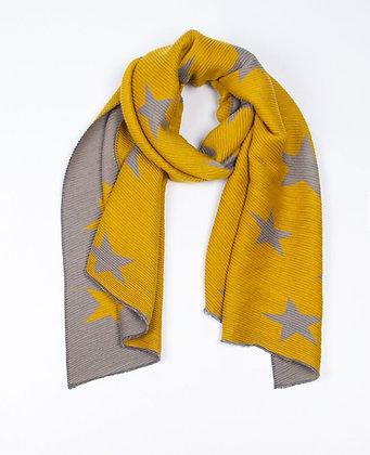 Mustard and Grey Star Scarf