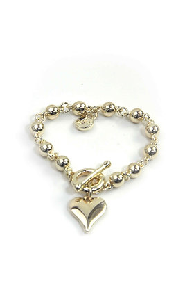 Envy Round Bead Heart Bracelet with T bar Gold