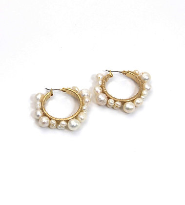Envy Gold Hoops with Freshwater Pearls