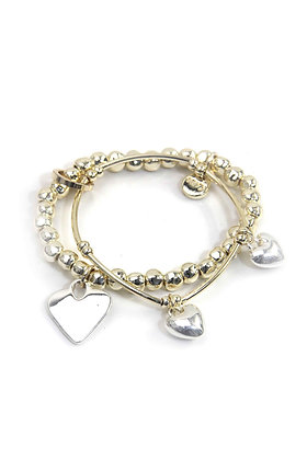 Envy Double Gold Bracelet with Silver Heart Charms