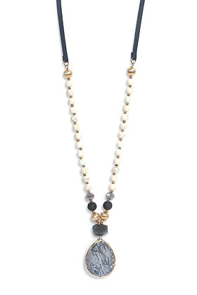 Envy Long Necklace Cream and Grey