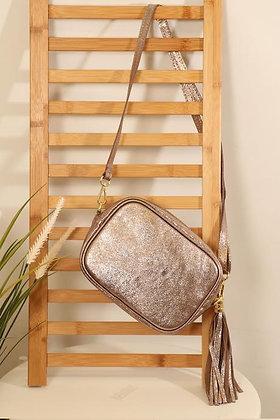 Leather Camera Bag Champagne Metallic