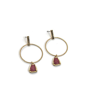 Envy Gold Statement Earring Pink Stones