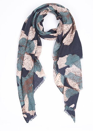 Navy Blue And Green Scarf Floral
