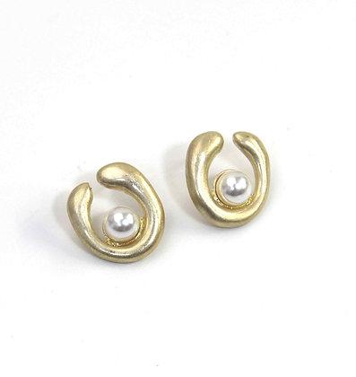 Envy Pearl and Gold  Swirl  Stud Earrings