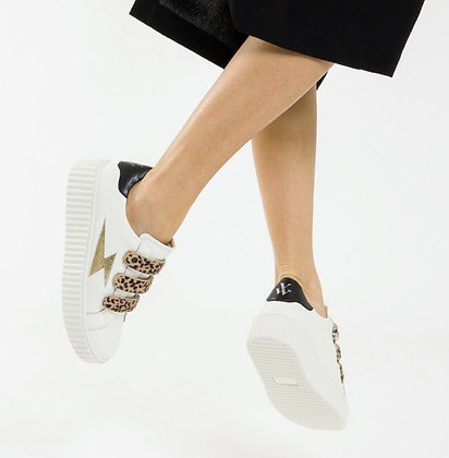 Vanessa WU Leopard Detail Leather Trainers