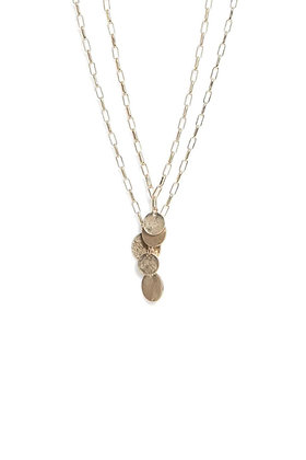 Envy Gold Double Chain Necklace with Coin Pendants
