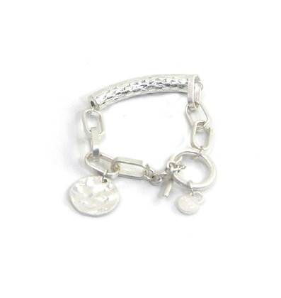 Envy Silver bracelet with Beaten Bar and Coin.