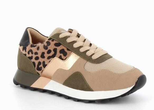 Vanessa WU Leopard Detail Khaki Trainers
