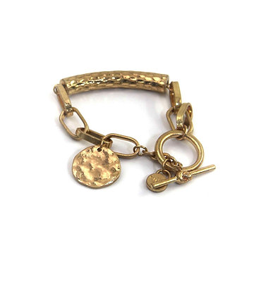 Envy Gold bracelet with Beaten Bar and Coin.
