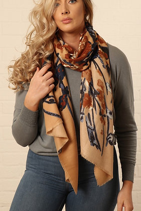 Abstract Floral and Vine Scarf Mustard