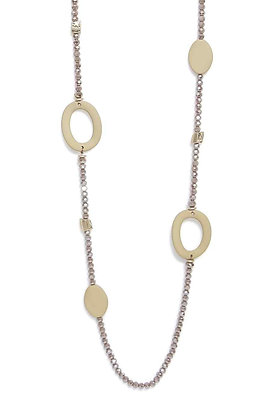 Envy Necklace Taupe Beads and Hoops