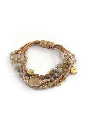 Envy Cuff Bracelet Beige Semi Precious Beads