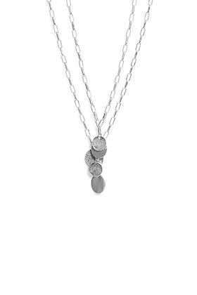 Envy Silver Double Chain Necklace with Coin Pendants