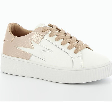 Vanessa WU Leather Trainers With Nude Rose