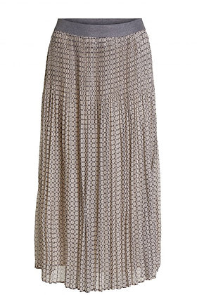 Oui Grey and Beige pleated Skirt