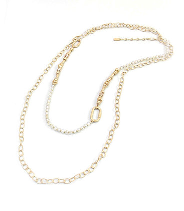 Envy Gold Double Chain Necklace with Chrystal Beads