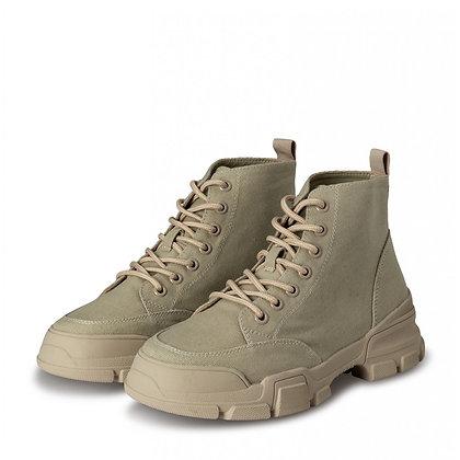 Yaya Canvas Lace up Boots Pale Khaki