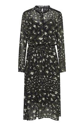 Pulz Monica Dress Dark Olive Print