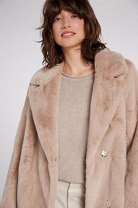 Oui Faux Fur Coat Cobblestone