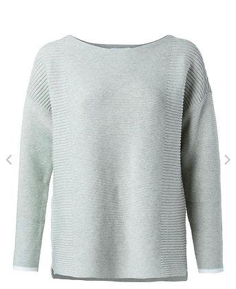 Yaya Ribbed Cotton Sweater Eucalyptus