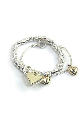 Envy Double SilverBracelet Gold Heart Charms