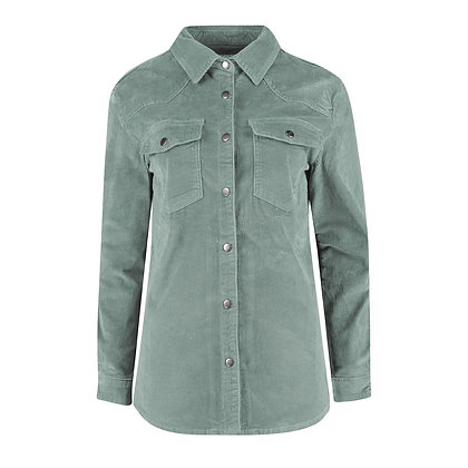 Red Button Overblouse Cord Dusty Jade.