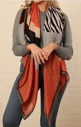 Grey and Coral Block Stripe Scarf